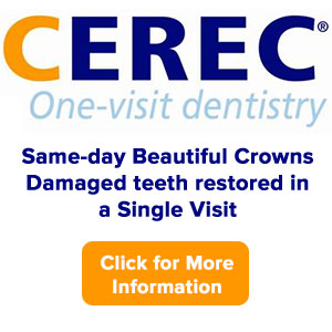Same-Day Crowns - Now damaged teeth can be restored in a single visit, usually in about one hour, with a durable ceramic material that matches the natural color of your other teeth. Click the logo for more info!