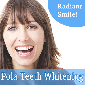 Pola is a tooth whitening system available to safely whiten the discolorations in the enamel of your teeth. Discolorations due to age, coffee, red wine, tobacco, coloured foods, some medications, disease, injury or medical treatments are easily removed with the Pola Tooth Whitening system.